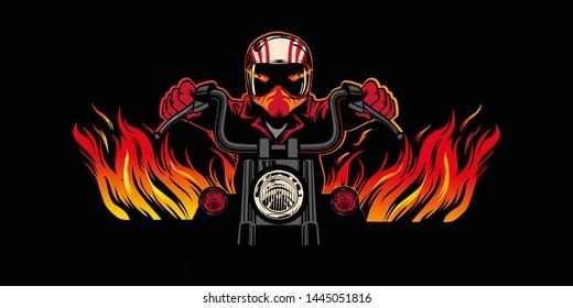 Flaming Bike Chopper Ride Front View chopper motorbike rider