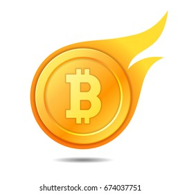 Flaming bitcoin symbol, icon, sign, emblem. Vector illustration.