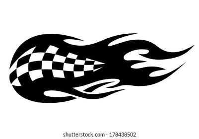 Flaming black and white checkered flag tattoo logo depicting speed in motor sports from flaming exhausts of cars or bikes