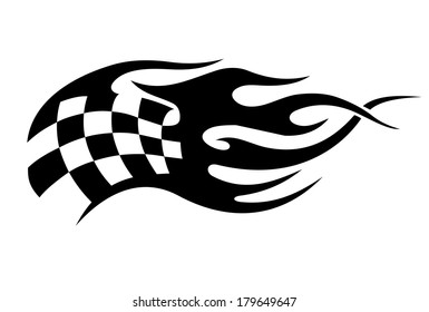 Flaming black and white checkered flag tattoo logo used in motor sport conceptual of the flames from the exhausts of the speeding bikes and cars, vector illustration