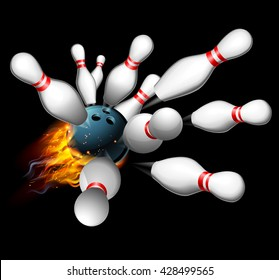 A flaming bowling ball smashing into pins getting a strike