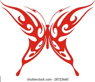 Flaming butterfly vector illustration, great for vehicle graphics, stickers and T-shirt designs. Ready for vinyl cutting.