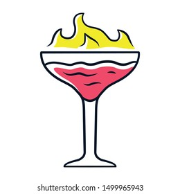 Flaming cocktail red color icon. Martini glass with beverage and burning fire. Drink with flammable high-proof alcohol. Isolated vector illustration