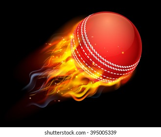 A flaming cricket ball on fire flying through the air