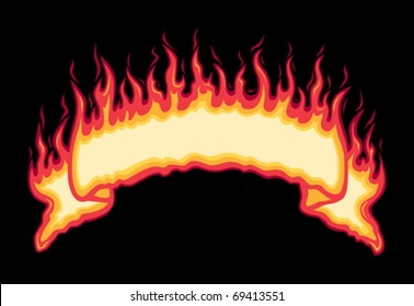Flaming Fire Banner is a five spot color vector illustration on black background with space left open for your information. Easy to edit and separate.