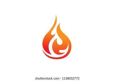 Flaming Fire Logo Design Illustration