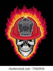 Flaming Firefighter Skull and Helmet is an illustration of a flaming stylized human skull wearing a firefighter helmet. Vector format is easily edited or separated for print and screen print.