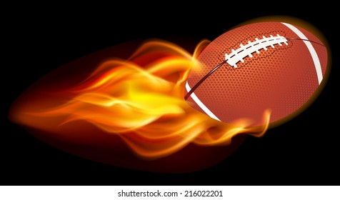 Flaming Football Ball on black background