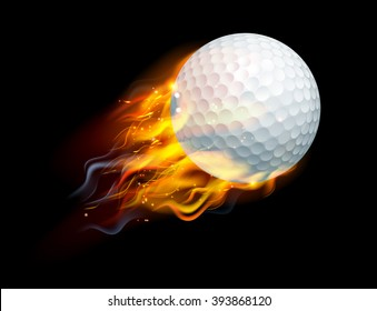 A flaming golf ball on fire flying through the air
