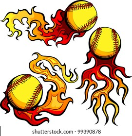 Flaming Graphic Softball Sport Vector Image with Flames