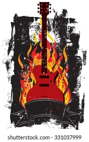 Flaming GuitarA guitar in flames over a textured background.