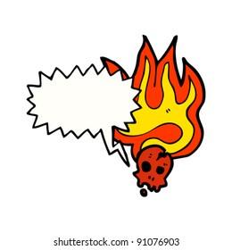 flaming halloween skull cartoon