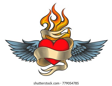 Flaming heart with wings and ribbon drawn in retro tattoo style. Vector illustration.