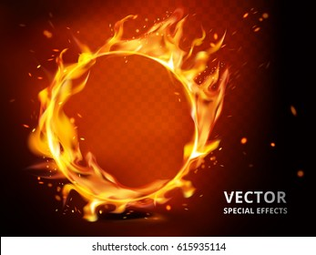 flaming hoop element that can be used as special effect, red background