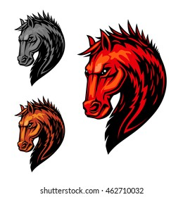 Flaming horse head symbol of dreadful stallion with orange fur and mane with pattern of fire flames. Equestrian sport competition, mascot or t-shirt print design