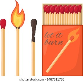 Flaming match and burned match