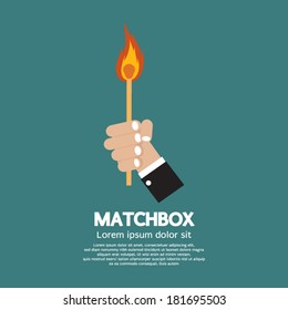 Flaming Match Stick In Hand