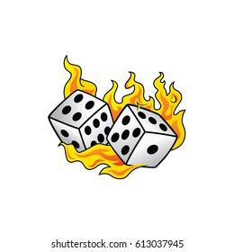 flaming on fire burning white dice risk taker gamble vector art illustration