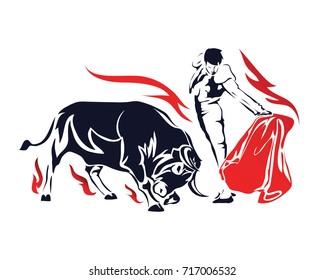 Flaming Passionate Spanish Bull Fighter Matador In Action Symbol