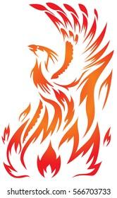 flaming Phoenix bird with open beak
