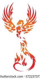 flaming Phoenix bird vector