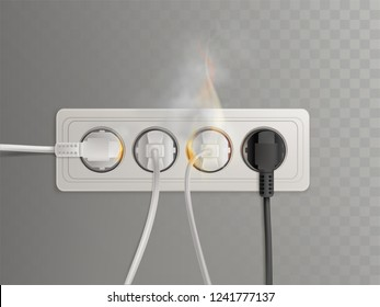 Flaming power plugs in horizontal electrical socket realistic vector illustration isolated on transparent background. Short circuit in outlet because of overload, bad wiring concept. Home fire cause