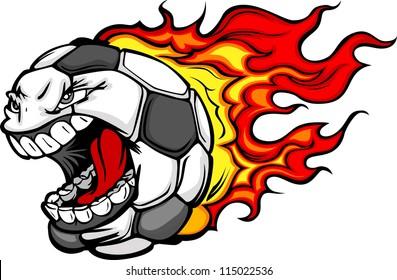 Flaming Soccer Ball Screaming Face Vector Cartoon