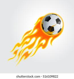 Flaming soccer ball. Vector illustration.