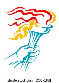 Flaming torch in hand for sports or freedom concept design, such logo. Jpeg version also available in gallery