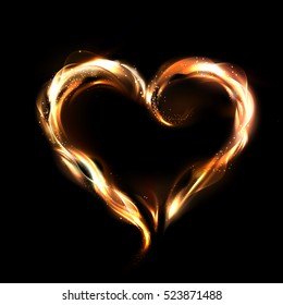 Flaming vector heart illustration