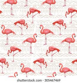 Flamingo Bird Background . Seamless vector pattern