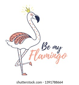 Flamingo bird illustration design.Trendy illustration. Tropical bird. Animal exotic. Element for print design, greeting card, posters, party decorations. Cute flamingos.Vector illustration