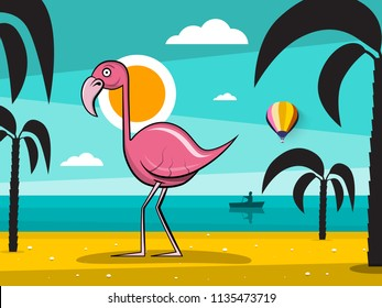 Flamingo Bird on Tropical Island with Palm Trees Silhouette and Sunset Ocean Landscape