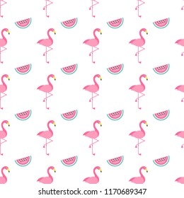 Flamingo birds and watermelons