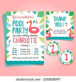 Flamingo Birthday Invitation, pool party