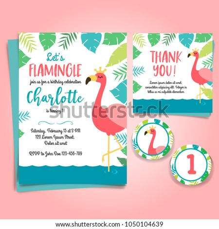 Flamingo Birthday Invitation Pool Party