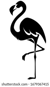 Flamingo black bird silhouette drawn on a white background. Isolated vector. Tattoo, creative logo for a company, emblem for the design of clothes, dishes, paper, cards, books