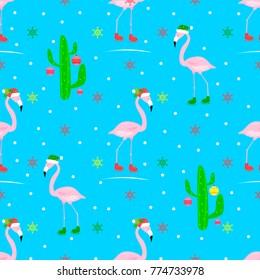 flamingo christmas seamless vector pattern