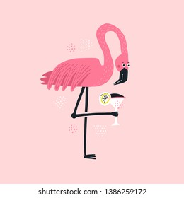 Flamingo with cocktail hand drawn illustration. Pink tropical bird holding alcoholic beverage. Elegant wild animal vector isolated clipart. Cocktail party poster. Exotic beach drink flat drawing