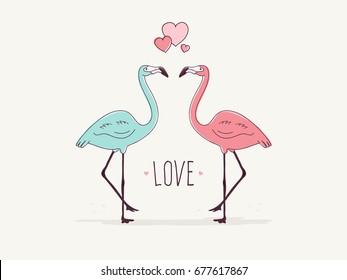 Flamingo Couple in Love.