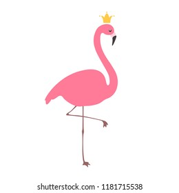 Flamingo with crown. Flat design. Isolated on white background