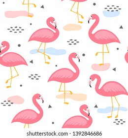 Flamingo Cute Seamless Pattern, Summer Wallpaper Background, Cartoon Vector illustration