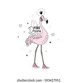 flamingo dreams, doodle graphic, illustration for kids