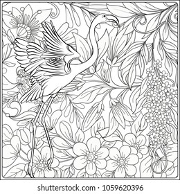 flamingo fantasy flower garden outline 260nw