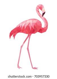 Flamingo geometric style. Vector illustration.