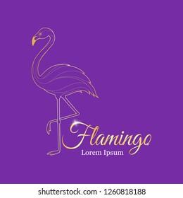 flamingo gold logo. logo for a beauty salon. vector illustration