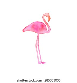Flamingo. Hand-drawn silhouette of bird. Real watercolor drawing. Vector illustration. Traced painting