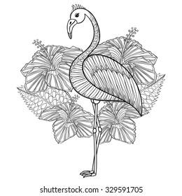 flamingo hibiskus coloring page zentangle 260nw