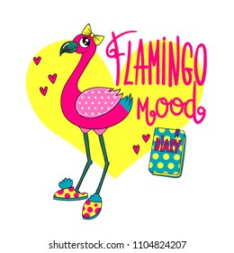 Flamingo illustration for girlish t shirt. exotic pink bird on white background with big yellow heart. Flamingo mood hand written lettering composition and diary with dots pattern.
