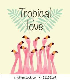 Flamingo illustration for Tropical love